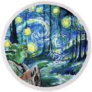Swampy Night Round Beach Towel