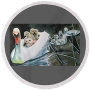 Swan And Cygnets Round Beach Towel