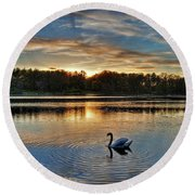 Swan At Sunset Round Beach Towel