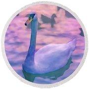Swan At Twilight Round Beach Towel
