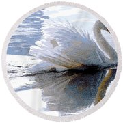 Swan Bathed In Morning Light Series 3 - Digitalart Round Beach Towel