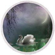 Swan By Moonlight Round Beach Towel