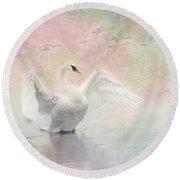 Swan Dream - Display Spring Pastel Colors Round Beach Towel
