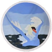 Round Beach Towel featuring the painting Swan by Donald J Ryker III