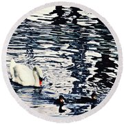 Round Beach Towel featuring the photograph Swan Family On The Rhine by Sarah Loft