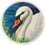 Swan In Pond Round Beach Towel
