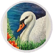 Swan In Pond Round Beach Towel