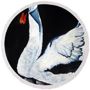 Swan In Shadows Round Beach Towel by Lil Taylor