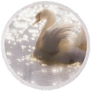 Swan Of The Glittery Early Evening Round Beach Towel