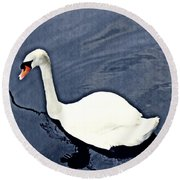 Round Beach Towel featuring the photograph Swan On The Rhine by Sarah Loft