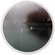 Swan Pond Round Beach Towel