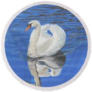 Round Beach Towel featuring the painting Swan Reflection by Elizabeth Lock