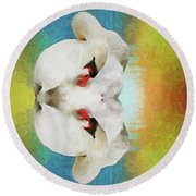 Swan Reflection Round Beach Towel by Suzanne Handel