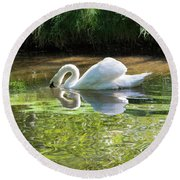 Swan Reflections, Rural England Round Beach Towel