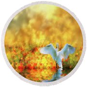 Swan Song At Sunset Thanks For The Good Day Lord Round Beach Towel by Diane Schuster