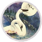 Round Beach Towel featuring the painting Swan Song by Sherry Shipley
