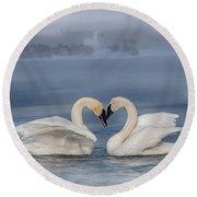 Swan Valentine - Blue Round Beach Towel by Patti Deters