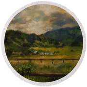 Swan Valley Hillside Round Beach Towel