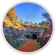 Round Beach Towel featuring the photograph Swan View Railway Tunnel by Dave Catley