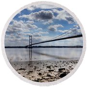 Swans At Humber Bridge Round Beach Towel