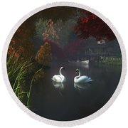 Swans In A River Near Home Round Beach Towel