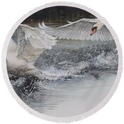 Round Beach Towel featuring the painting Swans In Dispute by Alan M Hunt