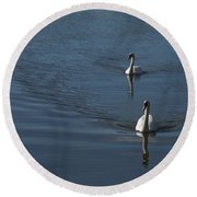 Swans On Deep Blue Round Beach Towel