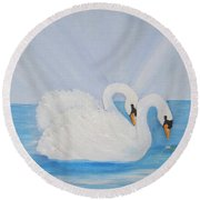 Swans On Open Water Round Beach Towel