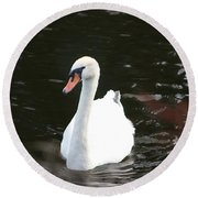 Swans-a-swimming Round Beach Towel