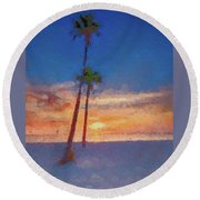 Round Beach Towel featuring the photograph Swaying Palms by Marvin Spates
