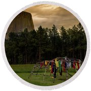 Round Beach Towel featuring the photograph Sweat Lodge At Devil's Tower by Gary Lengyel