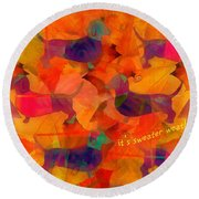 Round Beach Towel featuring the digital art Sweater Weather 2017 by Kathryn Strick