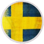Swedish Flag Round Beach Towel