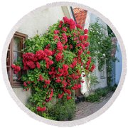 Swedish Town Visby, Famous For Its Roses Round Beach Towel
