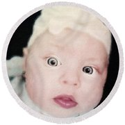 Sweet Baby Girl Portrait Round Beach Towel