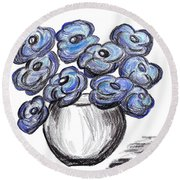 Sweet Blue Poppies Round Beach Towel
