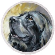 Round Beach Towel featuring the painting Sweet Boy by Rae Andrews