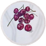 Sweet Cherry Round Beach Towel by Clyde J Kell