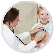 Sweet Child Visiting Doctor Round Beach Towel