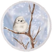 Round Beach Towel featuring the painting Sweet Cold by Veronica Minozzi