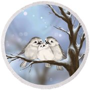 Round Beach Towel featuring the painting Sweet Family by Veronica Minozzi