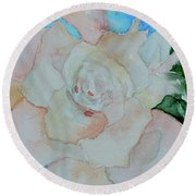 Round Beach Towel featuring the painting Sweet Gardenia by Beverley Harper Tinsley