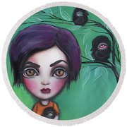 Sweet Girl Round Beach Towel by Abril Andrade Griffith