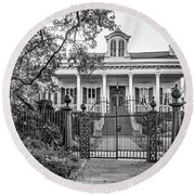 Sweet Home New Orleans - Wrought Iron Bw Round Beach Towel