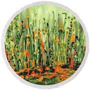 Round Beach Towel featuring the painting Sweet Jammin' Peas by Holly Carmichael