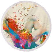 Round Beach Towel featuring the digital art Sweet Jenny Bursting With Music Cropped by Nikki Marie Smith