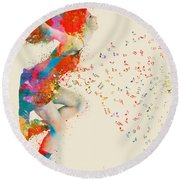 Sweet Jenny Bursting With Music Round Beach Towel by Nikki Smith
