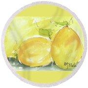 Sweet Lemon Watercolor Painting By Kmcelwaine Round Beach Towel by Kathleen McElwaine