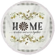 Sweet Life Farmhouse 5 Home Windmill Cotton Boll Laurel Leaf Buffalo Check Plaid Round Beach Towel