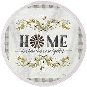 Sweet Life Farmhouse 5 Home Windmill Cotton Boll Laurel Leaf Buffalo Check Plaid Round Beach Towel
